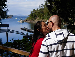 Kiss (peter.a.klein (Boulanger-Croissant)) Tags: woman canada man water garden boats dock kiss bc affection britishcolumbia victoria inlet anticipation butchartgardens idyllic