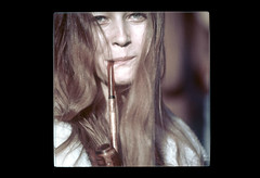 ss23-37 (ndpa / s. lundeen, archivist) Tags: portrait people woman color film face boston massachusetts nick pipe longhair slide slideshow brunette mass 1970s youngwoman bostonians bostonian dewolf pipesmoker pipesmoking early1970s nickdewolf photographbynickdewolf slideshow23