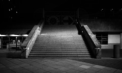 Holy Mountain (Beau Finley) Tags: monochrome blackandwhite bw mono beaufinley philadelphia pennsylvania philly night city urban stairs independenceseaportmuseum