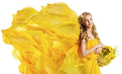 Fashion Model Girl with Flowers Bouquet, Flying Dress Fabric, Yellow Dandelion (noor.khan.alam) Tags: flowers portrait woman color floral girl beautiful beauty face smiling fashion yellow female hair happy person golden flying spring model glamour basket looking dress adult natural skin young silk makeup posing blowing latvia dandelion clothes textile teen fabric blond flowing bouquet gown cloth elegant waving springtime fluttering aroma girlflowers womanflowers