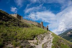 castle and blue sky (sabrandt) Tags: blue alps green castle switzerland chateau wallis sion valais tourbillon chateautourbillon