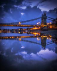 Hammersmith Bridge (Mike Hewson) Tags: longexposure bridge reflection london thames night reflections lumix capital hammersmith panasonic gx8 photo24 capitalreflections leicasummilux15mm