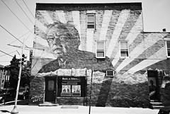DSR2-E062 (David Swift Photography Thanks for 16 million view) Tags: film philadelphia 35mm murals ilfordxp2 hillaryclinton streetscapes muralartsprogram southphilly yashicat4 politicalartwork berniesanders davidswiftphotography