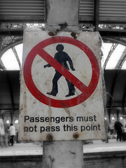 Passengers must not pass this point (the Magnificent Octopus) Tags: york station sign design br rail signage british alphabet