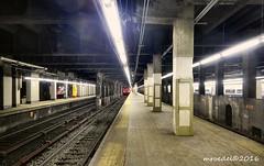 GCT (MROEDEL) Tags: roedel madridminer train nyc newyorkcity gct grandcentralterminal station tracks underground steel concrete dark noflash perspective vanishingpoint platform pillars