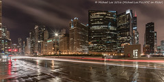 Wet Chicago (DSC07992) (Michael.Lee.Pics.NYC) Tags: longexposure chicago reflection rain architecture night cityscape pavement sony lighttrail wolfpoint traffictrail voigtlanderheliar15mmf45 a7rm2 350norleansstreet