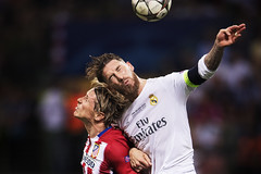 Atletico Madrids Fernando Torres header duel with Real Madrids Sergio Ramos   Inside the mind of a Champions League Final photographer (I Am Nikon Europe) Tags: italien football milano soccer final ita championsleague fotboll realmadrid atleticomadrid championsleaguefinal2016
