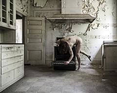 """My heart is a stopped geranium"" (sadandbeautiful (Sarah)) Tags: woman selfportrait abandoned me kitchen female self oven mansion delaware sylviaplath urbex servantquarters"