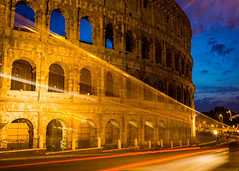Night bus (Ian Allon) Tags: longexposure vacation urban italy rome roma ancient roman it colosseum lighttrails bluehour lazio