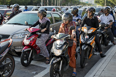 MYS069 Kuala Lumpur 15 - Malaysia (VesperTokyo) Tags: street asia crossing helmet scooter motorbike malaysia toyota motorcycle yamaha intersection kualalumpur       womanrider