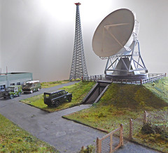 Post Office, Civil Defence & Satellite Relay Station. (ManOfYorkshire) Tags: fylefield postoffice civildefence base operations satellite station northern england moors secret spying space defence military dish mast scratchbuilt model diorama 176 scale oogauge landrover fordtransit vans access restricted relay oxforddiecast diecast vehicles
