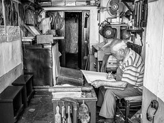 shoemaker (Vitor Pina) Tags: street city cidade portrait people urban man streets men monochrome contrast portraits photography pessoas moments shadows outdoor candid streetphotography urbano rua scenes pretoebranco momentos