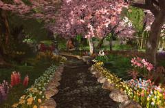 Moonlight Teahouse Path (Gaea Oakleaf) Tags: japanese teahouse moonlight cherryblossom bamboo koi pond garden zen tranquil