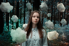 up on clouds (katielovefood) Tags: blue summer woman cloud cute nature girl clouds forest photo dream beaty thoughts