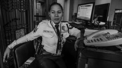 guard on duty (Stitch) Tags: portrait blackandwhite lady philippines guard security casual weekly spontaneous pasig