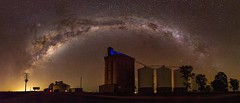 Milky Way Rainbow over the Norwin Silos (andrew.walker28) Tags: farm darling downs norwin queensland australia milky way rainbow silos night sky long exposure stars starlight darkness light pollution astrophotography panorama