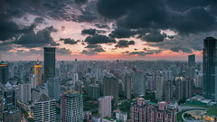 Timelapse of Shanghai City (HIKARU Pan) Tags: china sunset building horizontal clouds outdoors photography timelapse asia shanghai cloudy chinese aerialview 24l 1dx timelapsevideo canonef24mmf14liiusm