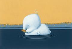 Eendje (roodogigeboomkikker) Tags: blue brown white cute bird art birds animal animals illustration dark painting duck pond jasper acrylic paintings ducks ducklings exposition illustrator groningen figurative oostland ducling
