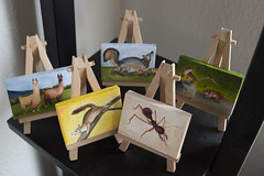 Mini Easel Stands (Life of Lann) Tags: wood art animal animals pine painting miniature stand frames squirrel natural wildlife ant tripod gray mini canvas mice tiny fox frame oil framing llamas easel