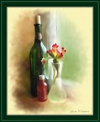 Little red bottle (edenseekr) Tags: red green bottles windowsill stilllifecomposition