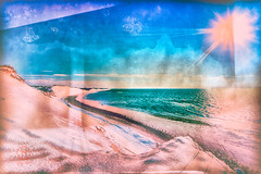 Blue Crush Abstract - Dapixara (Dapixara) Tags: ocean blue winter light sky people orange usa dog sun snow abstract color art beach nature collage artwork sand day artistic capecod collages massachusetts dunes photograph crush photoart wellfleet bluecrush photographsforsale dapixara