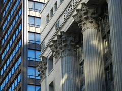 Glass Steel Stone Light (Pandora-no-hako) Tags: chicago building window stone architecture illinois column 2014