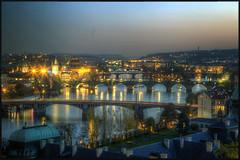 Prague (Scape) Tags: city bridge pink blue light sunset panorama tower rose architecture river soleil republic czech prague bell dusk riviere coucher bleu hour lumiere pont vltava hdr ville heure republique clocher tcheque