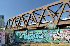 Brick Lane Street Art, London (bodythongs) Tags: street bridge england brick london art graffiti construction nikon paint crossing steel railway can spray viaduct lane shoreditch spitalfields d5100 bodythongs