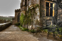 Morning Coffee (Smarkmith) Tags: england heritage canon table landscape eos rebel countryside nationalpark estate view chairs britain derbyshire peakdistrict country great tudor manor derby hdr bakewell countryhouse t3i haddonhall d600 photomatix 600d
