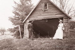 Formal/Casual (Thousand Word Images by Dustin Abbott) Tags: wedding woman ontario canada man monochrome sepia farmhouse barn groom bride belleville fineart ceremony atmosphere dreamy fullframe relaxed ramshackle shaftsoflight justchillin canoneos6d thousandwordimages dustinabbott dustinabbottnet tamronsp2470mmf28vcusd adobelightroom5 alienskinexposure5 adobephotoshopcc