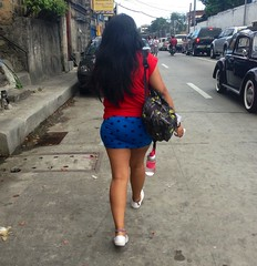 Walking (mikeeliza) Tags: street blue red woman brown black hot sexy public water girl beautiful car female buildings hair walking asian photography glasses bottle long pretty shot legs skin action top candid bare philippines bottom young figure manila shorts backside pinay filipina brunette straight tight oriental handbag polkadot backview tightshorts mainit mikeeliza