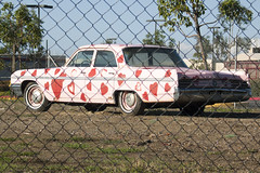 Former official car of Valentine's Day? (Carbon Arc) Tags: pink love car goofy st sedan hearts weird buick automobile gm day general 64 motors odd hate ugly vehicle valentines unusual lesabre wacky 1964 hideous