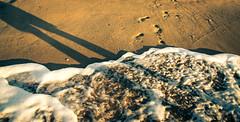 / (Sherry) Tags: ocean china light shadow white color beach sunrise canon seaside scenery waves sandy footprints wave foam seashore    footstep sandybeach  canon60d