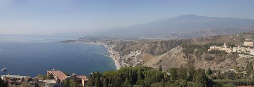 499 Panorama avec l'Etna depuis  Taormine