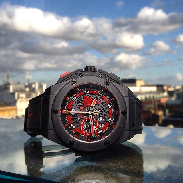 Hublot King Power Red Devil honouring Manchester United F.C. in black ceramic with a London background.  @hublot @r_rguadalupe @rick_hublot @marcotedeschi @marcuswatches @hublot_london @newcavendishjewellers @kronometry1999 @chronopassion #hublot #reddevi