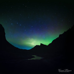 Aurora and The Big Dipper (Usstan) Tags: autumn sky mountain mountains water norway river lens stars landscape norge nikon shadows seasons no sigma wideangle silhoutte northernlights auroraborealis locations sunnmre mreogromsdal rsta d7100 816mm hallehornet romedalen