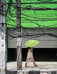 Radiation Protection ? (pictomentoes) Tags: green umbrella thailand mess wires parasol kohsamui tangled nathon