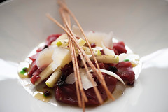 Beef Carpaccio With Apple, Red Onion Compote & Grissini (armandocapochiani) Tags: italy food macro colors beautiful beauty vegetables up closeup menu mushrooms photography italian nikon italia indoor pasta master creation chef funghi recipes dishes foodart puglia cibo d3 finedining verdure cucina plating ricetta pavia piatti apulia foodphotography oltrep sfoglia cucinacreativa capochiani armandocapochiani