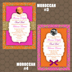 Printable Moroccan Middle Eastern Baby Shower Invitations (KDesigns2006) Tags: party orange signs glitter gold photos ultrasound babyshower invitations moroccan middleeastern hotpink printable partysupplies thankyoucards