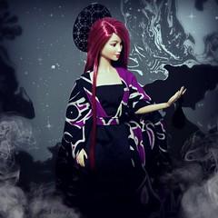 Sakura (Doll Affinity) Tags: world black japan dark asian doll dolls princess ooak magic barbie odd sakura custom magical saran dotw rehair reroo