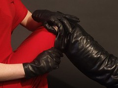 girls in leather gloves and overknee leather boots (girl leather pants) Tags: girl leather boots gloves overknee