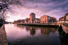 Sunset on The Four Courts (Jim Nix / Nomadic Pursuits) Tags: travel ireland sunset dublin architecture river photography nikon europe hdr goldenhour riverliffey fourcourts d700 nomadicpursuits jimnix aurorahdrpro
