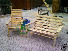 Pallet recycles chairs and bench (irecyclart) Tags: wood bench chair recycled gardenideas recycledpallet upcycledfurniture