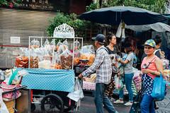 Bangkok Chinatown (Evgeny Ermakov) Tags: life street city people urban food woman man shopping bag asian thailand town women asia southeastasia chinatown market bangkok crowd stall snack buy vendor marketplace local southeast cart sell selling seller foodstall crowded streetmarket buyer foodcart editorialuse