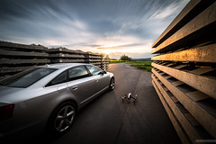 Ready to go (Stefan Liebermann) Tags: travel sunset sky sun cars nature car clouds germany deutschland dawn evening abend thringen sonnenuntergang transport himmel wolken thuringia vehicle audi inspire sonne copter a6 drone dji drohne quadrocopter