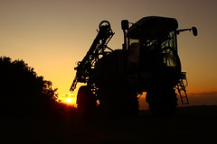 The day is done (Dave Harwood) Tags: sunset sun field rural sussex countryside sundown dusk farm country farming machinery crop sprayer