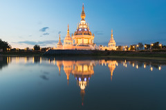 Modern Pagoda (nuttawut.jaroenchai) Tags: lighting blue sunset sky reflection beautiful weather modern thailand pagoda twilight asia buddha religion khonkaen