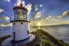 Makapuu Lighthouse 02 (Juneau Biscuits) Tags: ocean sea lighthouse beach clouds sunrise skyscape hawaii oahu bluesky honolulu cloudscape makapuu makapuulighthouse