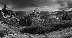 Glacier Point Panoramic (Drifton) Tags: california park trees blackandwhite cloud white mountain storm black mountains tree water monochrome clouds point landscape outside evening waterfall adams cloudy outdoor stormy glacier national yosemite dome half ansel