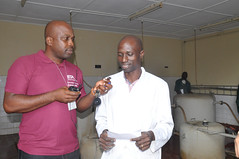 K. Awobajo interviewing staff during Risk Campaign (IITA Image Library) Tags: risk nigeria campaign iita riskmanagement